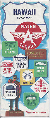 1958 Flying A Service Station Tidewater Oil Road Map Hawaii