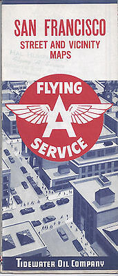 1958 Flying A Service Station Tidewater Oil Road Map San Francisco Ca