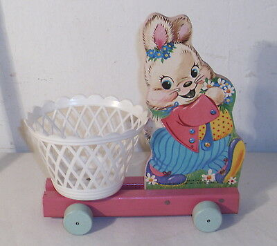 Fisher Price Easter Bunny Original Wooden Pull Toy Nice!