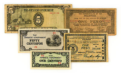 Set of 5 diff. Philippines WW2 guerilla and Japanese invasion currency nice circ