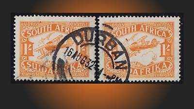 1925 Air Post Stamp Horiz. Pair 1 Sh. Cancel Durban