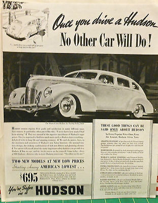 Vintage 1939 magazine ad for Hudson - Six Touring Sedan, list of features
