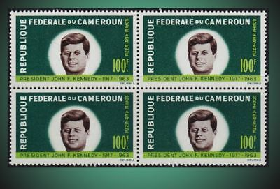 1964 Cameroon President John F. Kennedy Block Of 4 Air Post Sct C52