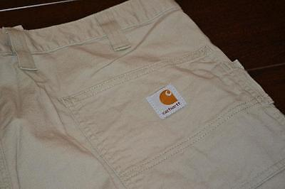 8781-a Mens Carhartt Cargo Shorts Size 38 Tan 100% Cotton NEW TAGS