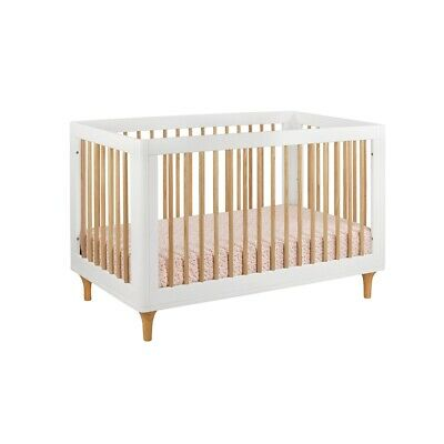 babyletto Lolly 3-in-1 Convertible Crib w/ Toddler Rail, White/Natural - M9001WN