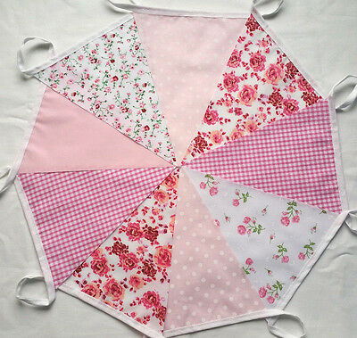 9 ft /2.7m Vintage PINK FLORAL Handmade Fabric Bunting Wedding Party Venue