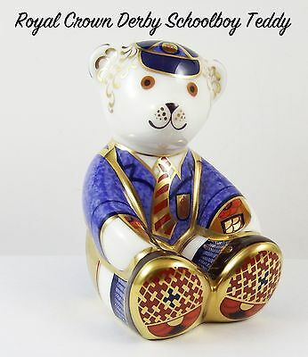 Royal Crown Derby Schoolboy Teddy Paperweight Gold Stopper