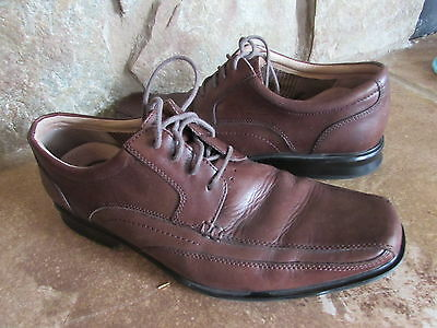 Clarks Men's Dress Casual Oxford lace up  Brown Leather Shoes 62118 sz 10.5