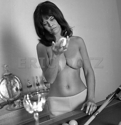 60s Vogel Negative, busty nude pin-up girl Annette Antres w/ pool balls, t972384