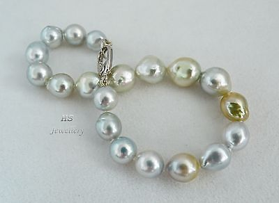 HS Baroque South Sea Cultured Pearl 7.5X10.05mm 18K White Gold Bracelet 8 inches