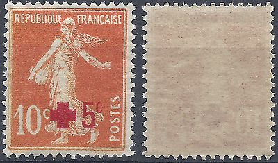 FRANCE SEMEUSE CROIX ROUGE RED CROSS N°146a ROUGE-ORANGE 1914 NEUF ** LUXE MNH