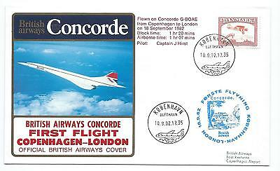1982 CONCORDE G-BOAE, FIRST FLIGHT FROM COPENHAGEN TO LONDON ON 18th SEPT. 1982