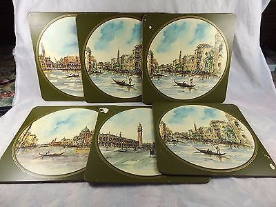 """Lot of 6 x Vintage ~ Venice Italy Scenes by Bonvesin etc ~ 8-3/4"""" Placemats"""