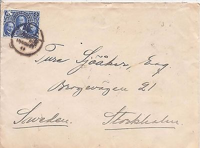 China 1914 10c National Postal Service single franking cover to Sweden