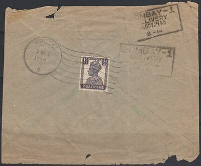 1945 MUSCAT OMAN, backside (piece) from Cover franked with 1 1/2 A [cb405]