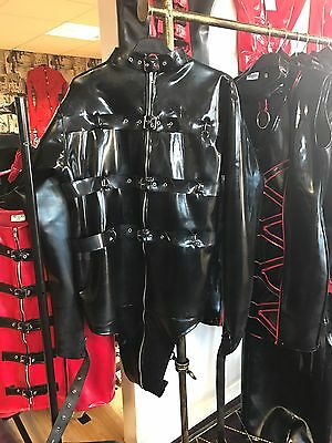 "Misfitz black rubber latex buckle restraint straitjacket size Xl (44-46"")"