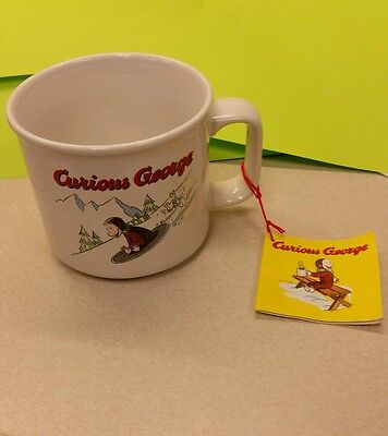 Curious George coffee mug wide cup iconic monkey snow sledding slopes whimsy New