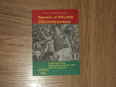 Republic of Ireland v Czechoslovakia Football Programme 29.4.81
