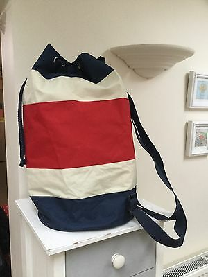 Large  Red Blue & Cream Duffle Bag