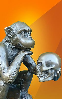 Bronze Statue, Monkey Thinker Darwin Ape Figure Bronze Skull Hot Cast Sculpture