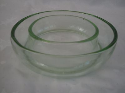 Art Deco Bagley Green Pressed Glass Round (Circle) Flower Head Bloom Trough Vgc