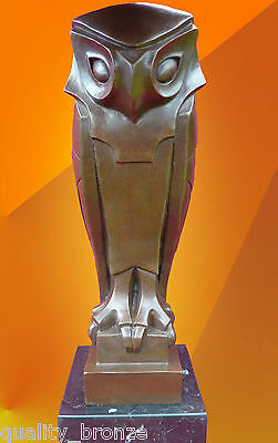 Art Deco Stylised Bronze Owl, Hot Cast Bronze Statue Bird Figure Cubist