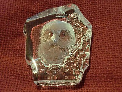 Signed  Scandinavian  Glass Paperweight - Cute Owl