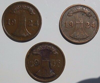 Germany 1924 F 192 E 1936 F  2 Reichspfenning German Coin Lot of 3 Coins