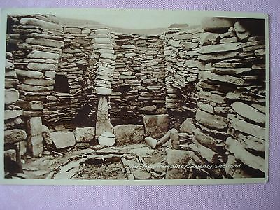 Sepia unused postcard - Pictish remains, Jarlshof, Shetland