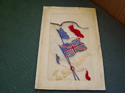 Ww1 Vintage - To The Victory - Silk Postcard