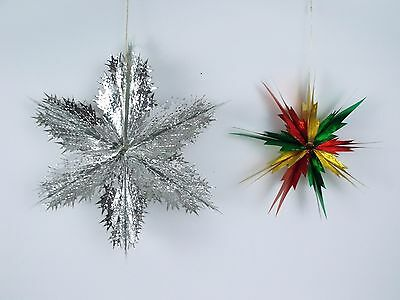 Christmas Foil Fold-Out Honeycomb Stars Silver & Multi Color Set Of 2 Japan