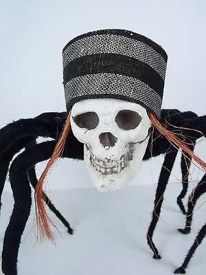 """Pirate Skull Posable Hanging Spider 30"""" Halloween Decoration Prop Display Party"""