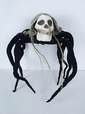 """Skull Head Posable Hanging Spider 30"""" Halloween Decoration Prop Display Party"""