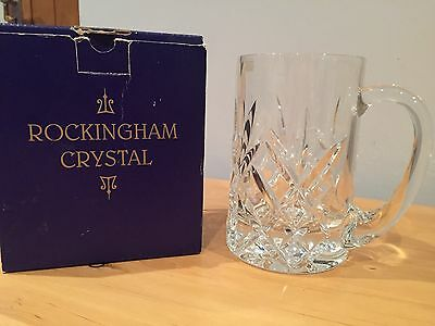 "Rockingham Crystal Tankard 500ML With Diamond Pattern Size 5.5"" - BOXED *NEW*"