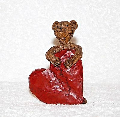 "Vintage 3"" Resin Bear W/  Big Heart  J. W. 1987 figurine"