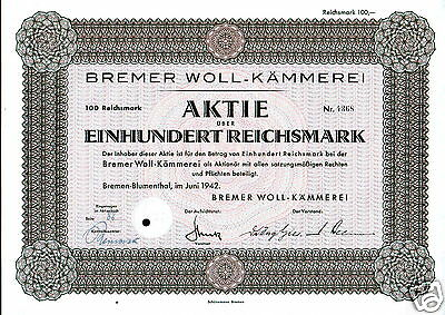 Bremer Woll-Kämmerei 1942 100 RM