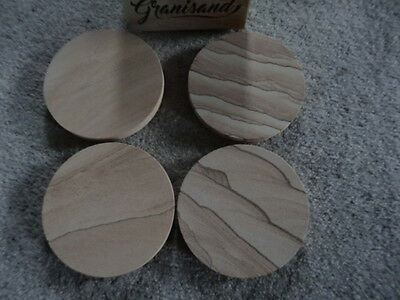 Round Natural Sandstone Coasters Set of 4 - New in Box