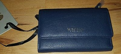 MODALU small  flapover leather purse in Navy Blue BNWT