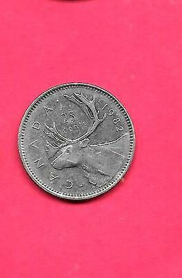 Canada Canadian Km74 1982 Xf-Super Fine-Nice Large 25 Cent Quarter Animal Coin