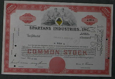 Spartans Industries, Inc. 1965  10 Shares