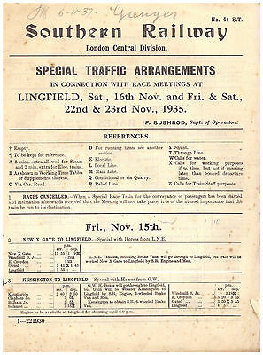 Southern Railway Special Traffic Arrangements Lingfield Park Race Meetings 1935