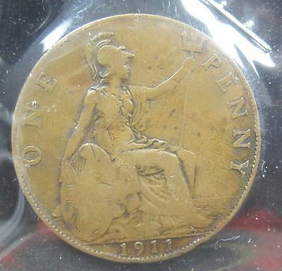 1911 Great Britain One Penny - K216
