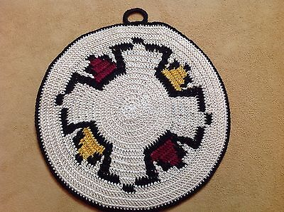 Vintage Pot Holder, Hot Pad, Ivory, Mustard, And Black,  Hand Crocheted, Round