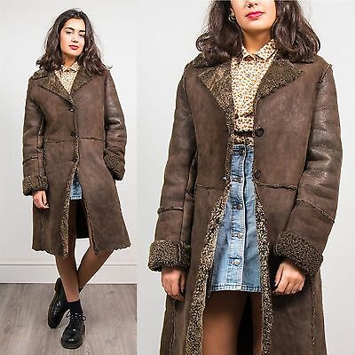 Womens Vintage Suede Leather Sheepskin Style Coat Jacket Warm Winter Casual 10