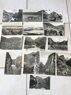 13 x Norway Norge real unused photo postcard by Normanns Geiranger Olden Sogn
