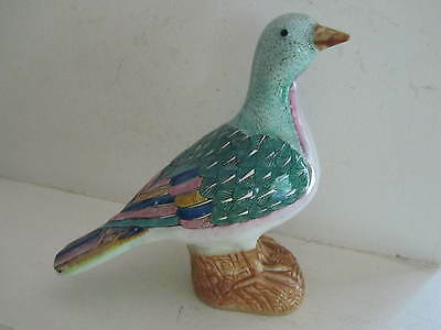 Antique Pottery Bird Old CHINA mark Vintage Pigeon DOVE Multicolored Ceramic