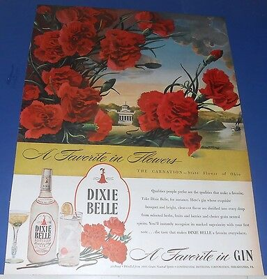 1945 Dixie Belle Gin Ad CARNATION~State Flower of Ohio