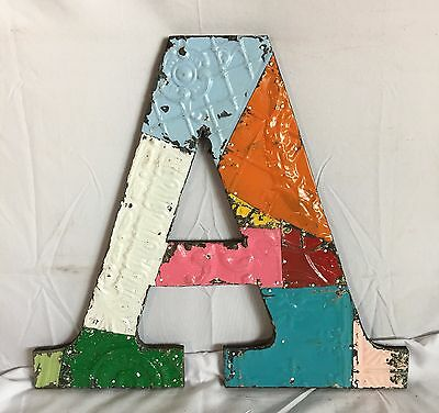 "Large Antique Tin Ceiling 16"" Letter A Patchwork Metal Mosaic Multi Color 111-17"