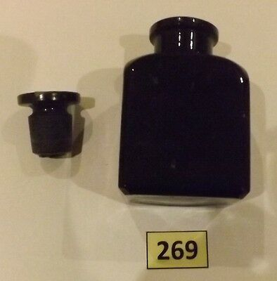 Black Coloured Glass Ink Bottle With Stopper