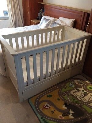 Mothercare White Harrogate Cot Bed Wooden Storage Drawer Mattress Large